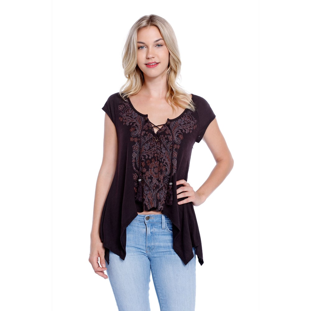 TAYLOR & SAGE Juniors' Placement Print Lace-Up Hanky Hem Top - Charcoal Black
