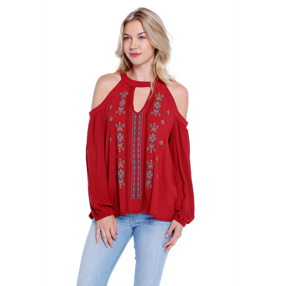 TAYLOR & SAGE Juniors' Cold-Shoulder, High-Neck Puff Print Top - RED HENNA (RHE)