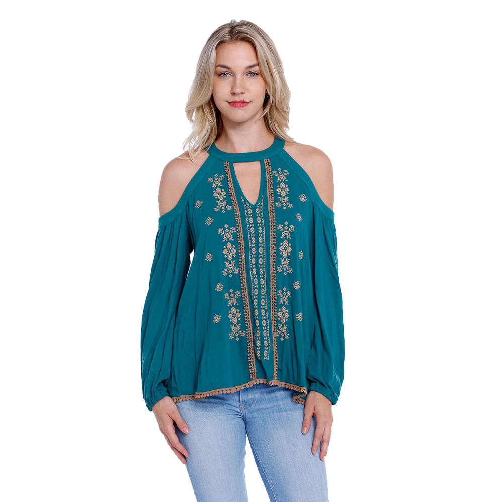 TAYLOR & SAGE Juniors' Cold-Shoulder, High-Neck Puff Print Top - RICH TEAL