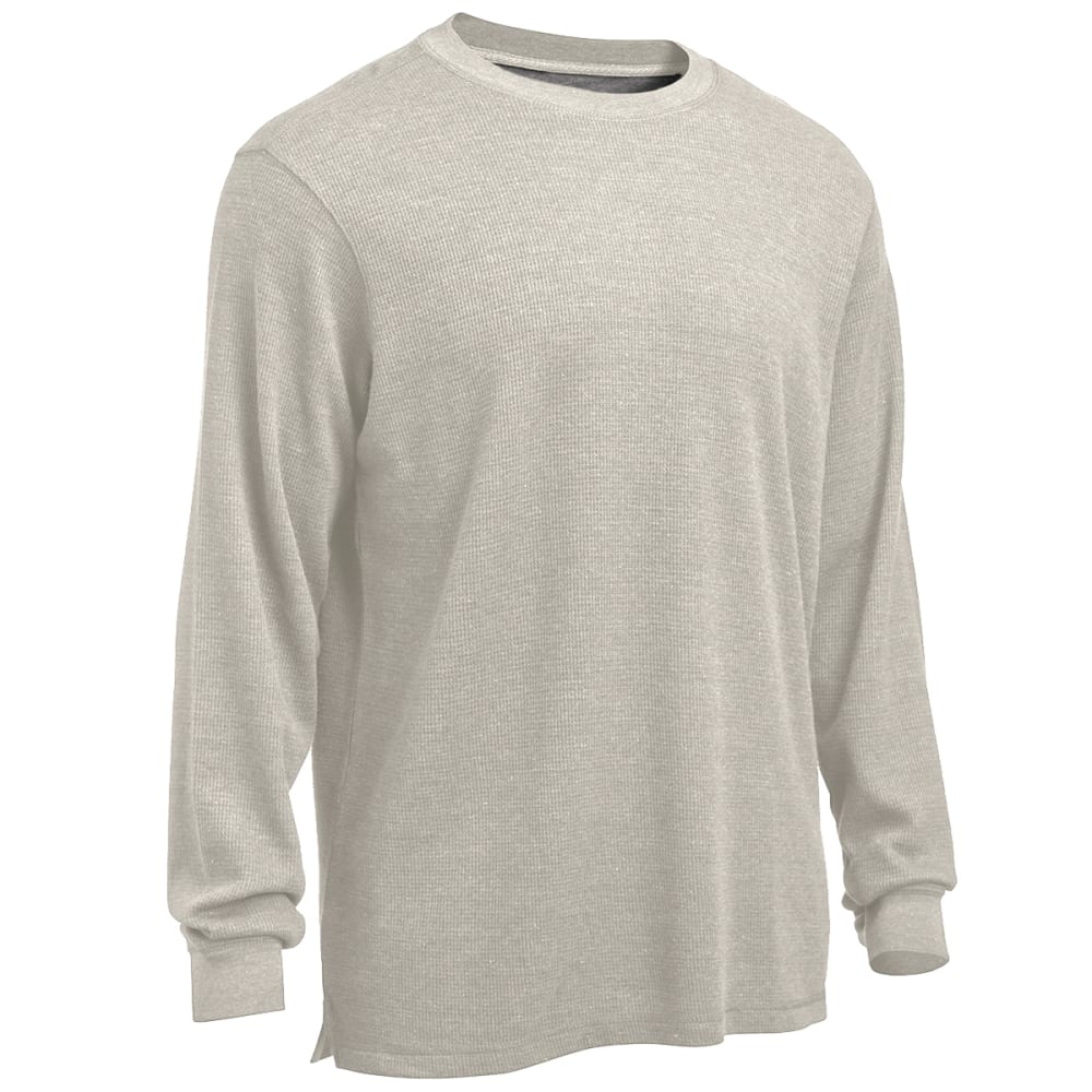 RUGGED TRAILS Men's Thermal Solid Heather Crew Neck Shirt - PEBBLE HEATHER
