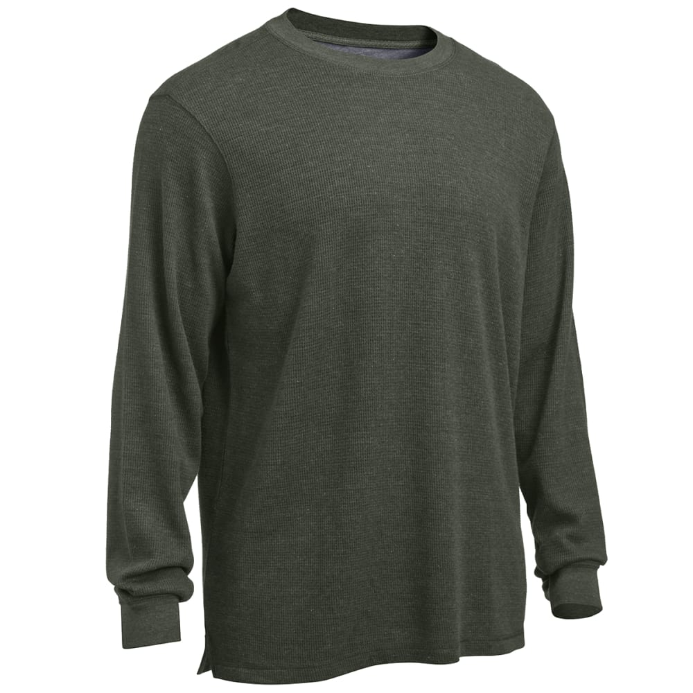 RUGGED TRAILS Men's Thermal Solid Heather Crew Neck Shirt - DARK GREEN HEATHER