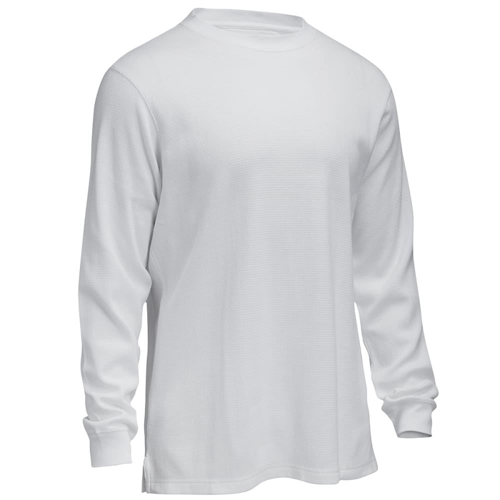 RUGGED TRAILS Men's Thermal Solid Crew Neck Shirt - WHITE