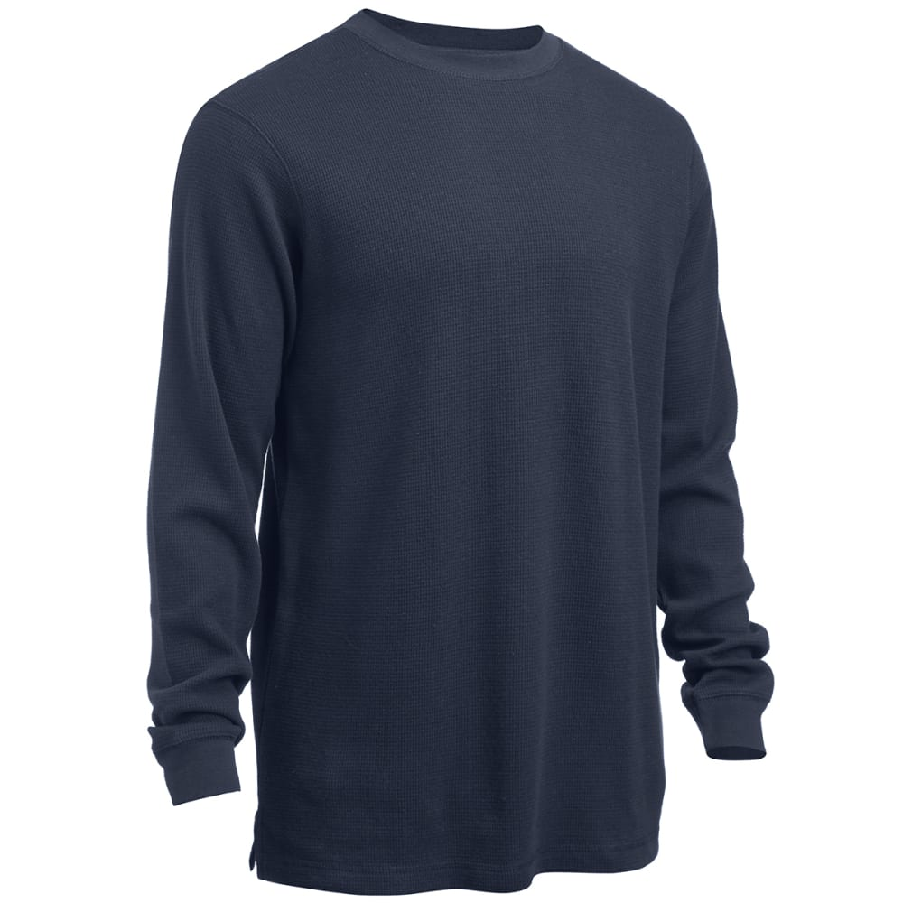 RUGGED TRAILS Men's Thermal Solid Crew Neck Shirt - NAVY
