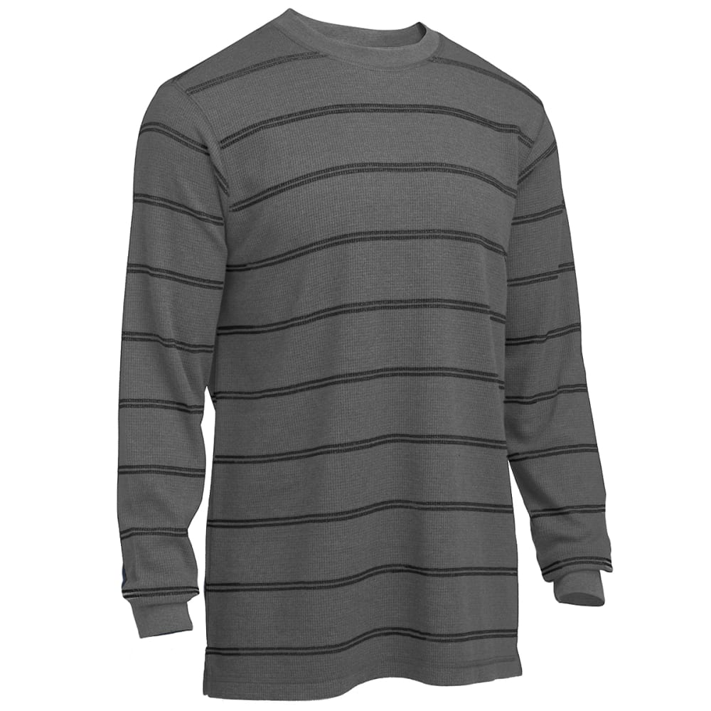 RUGGED TRAILS Men's Thermal Striped Crew Shirt - LT GREY/BLACK