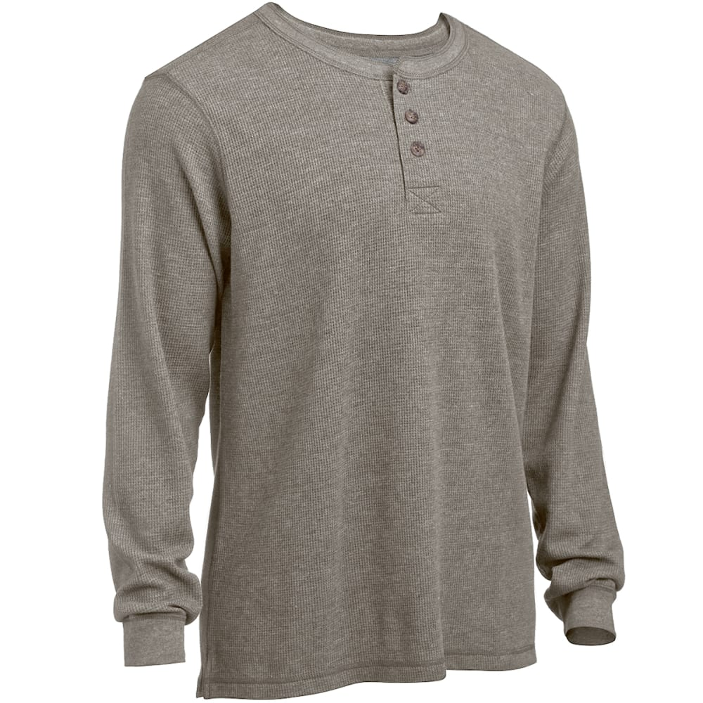 RUGGED TRAILS Men's Thermal Solid Heather Henley Shirt - DK SAND HEATHER