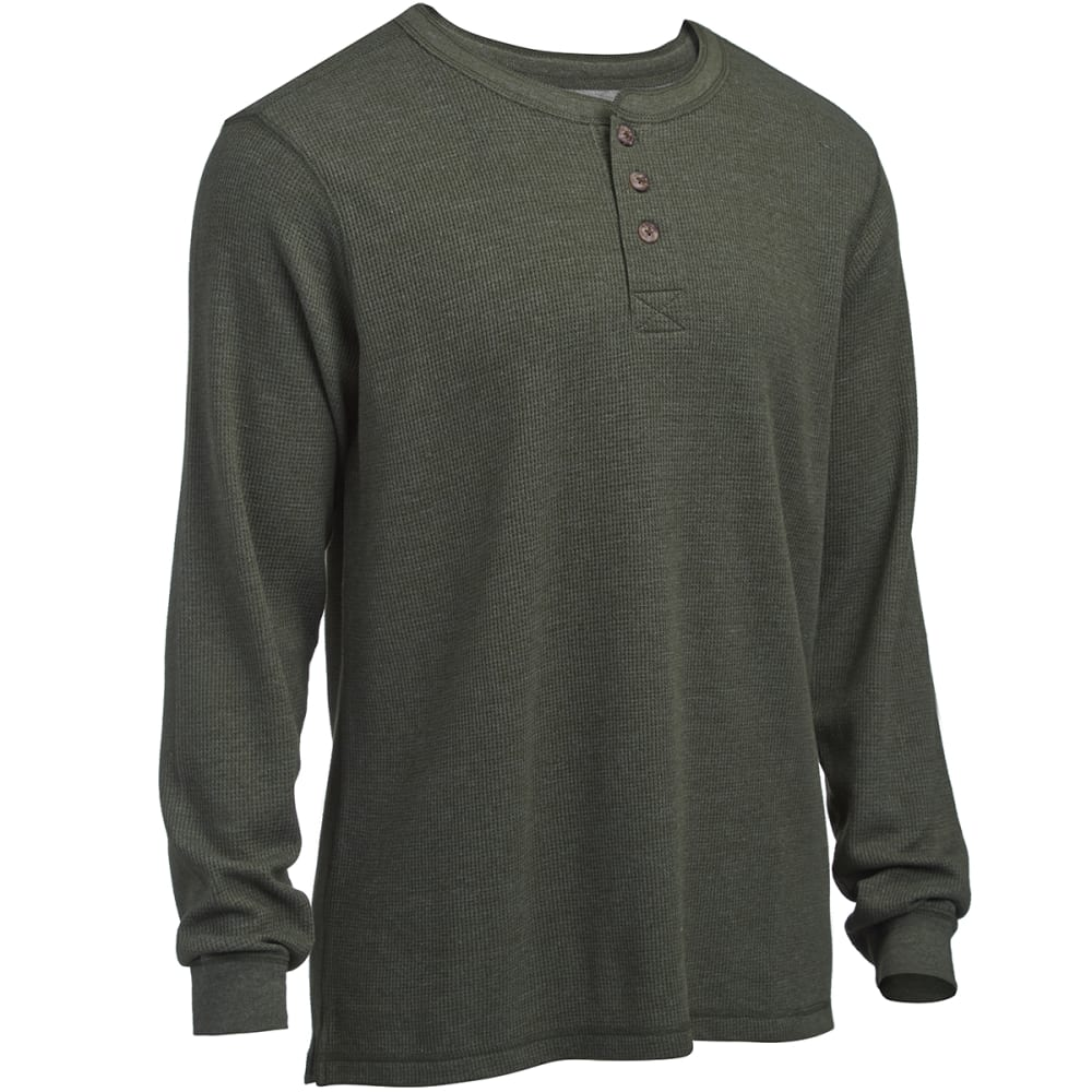 RUGGED TRAILS Men's Thermal Solid Heather Henley Shirt - DARK GREEN HEATHER