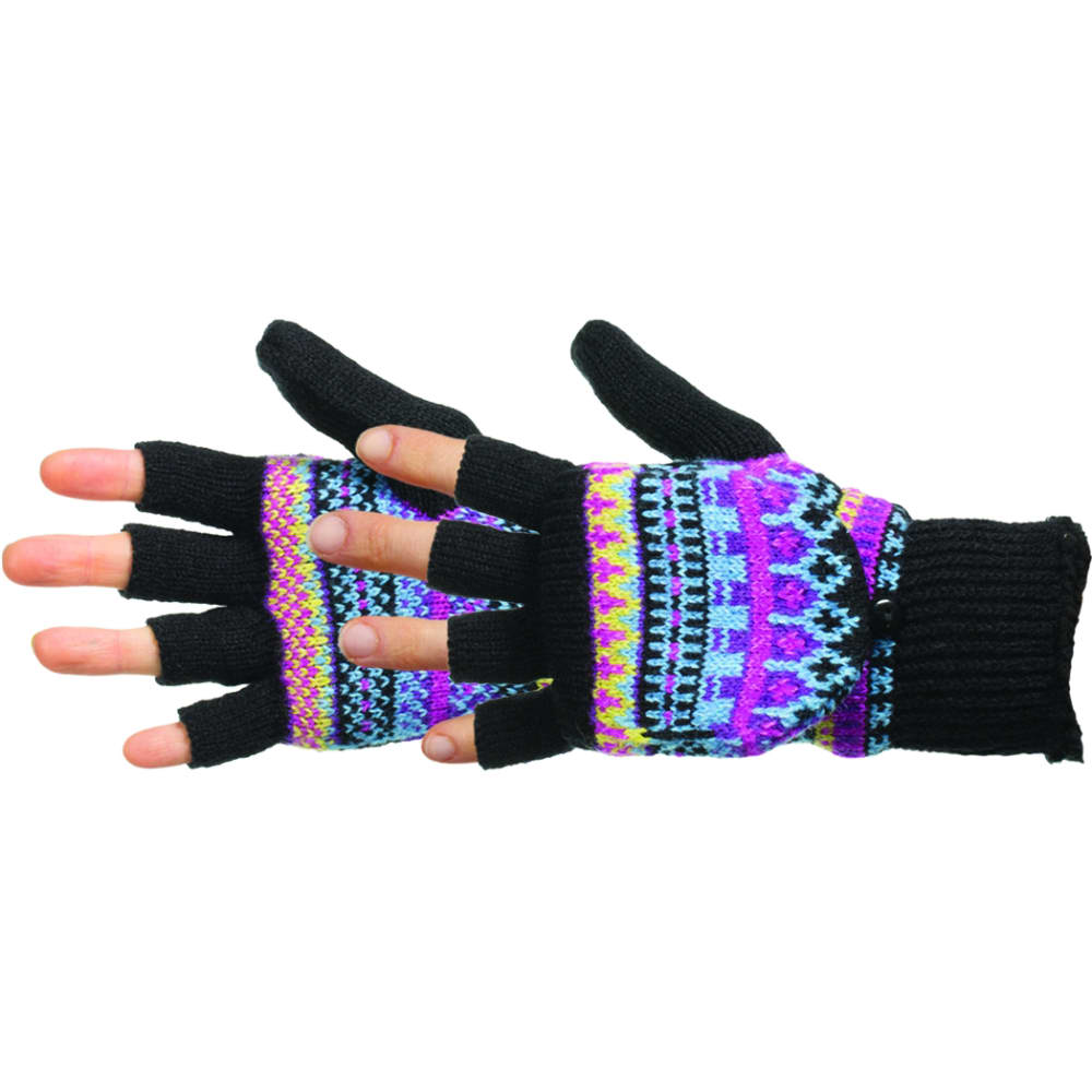 MANZELLA Women's Fair Isle Knit Convertible Gloves - BLACK LASER