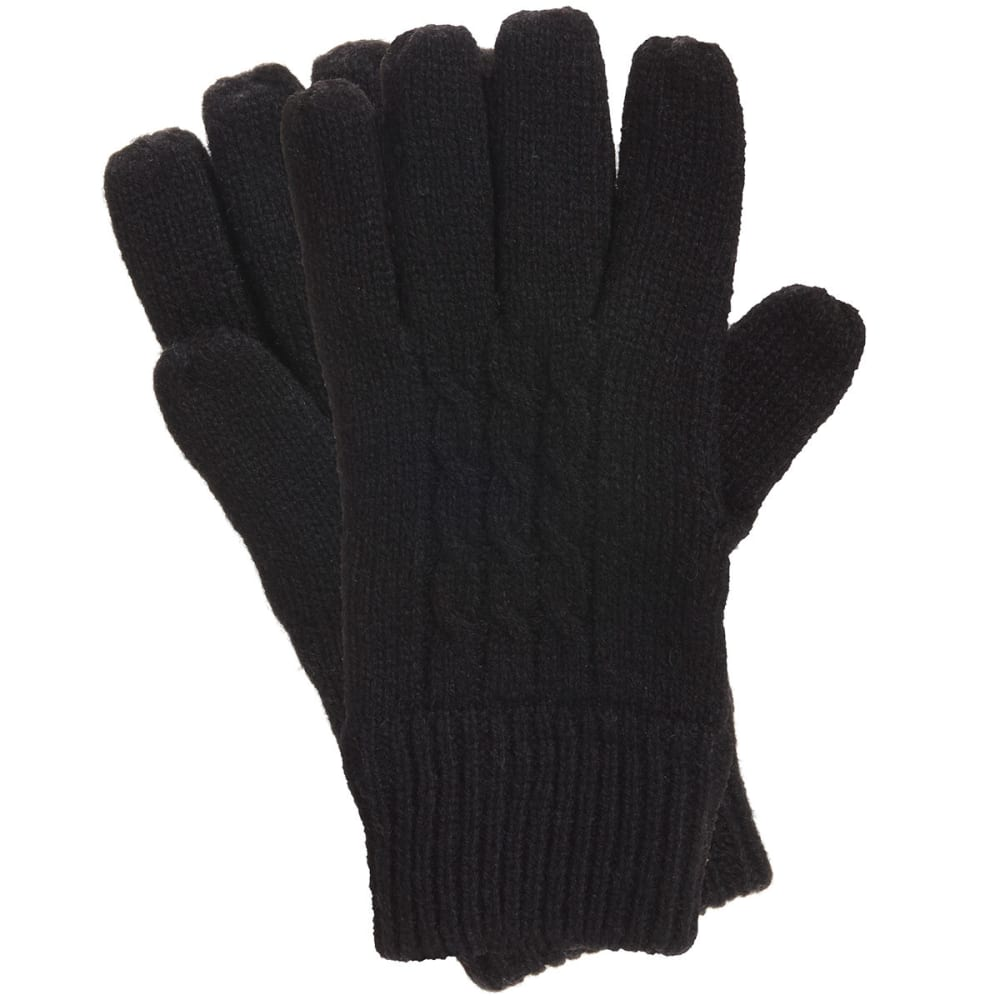 MANZELLA Women's Warmer Cable Knit Gloves - BLACK