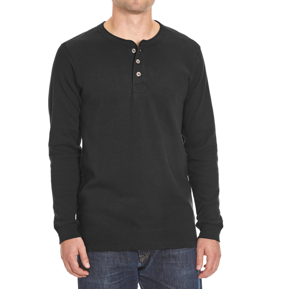 RUGGED TRAILS Men's Thermal Henley Shirt - BLACK