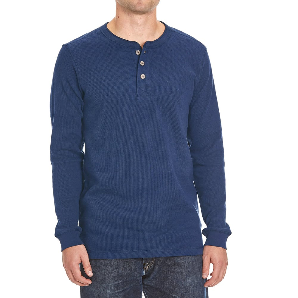RUGGED TRAILS Men's Thermal Henley Shirt - COLONIAL BLUE