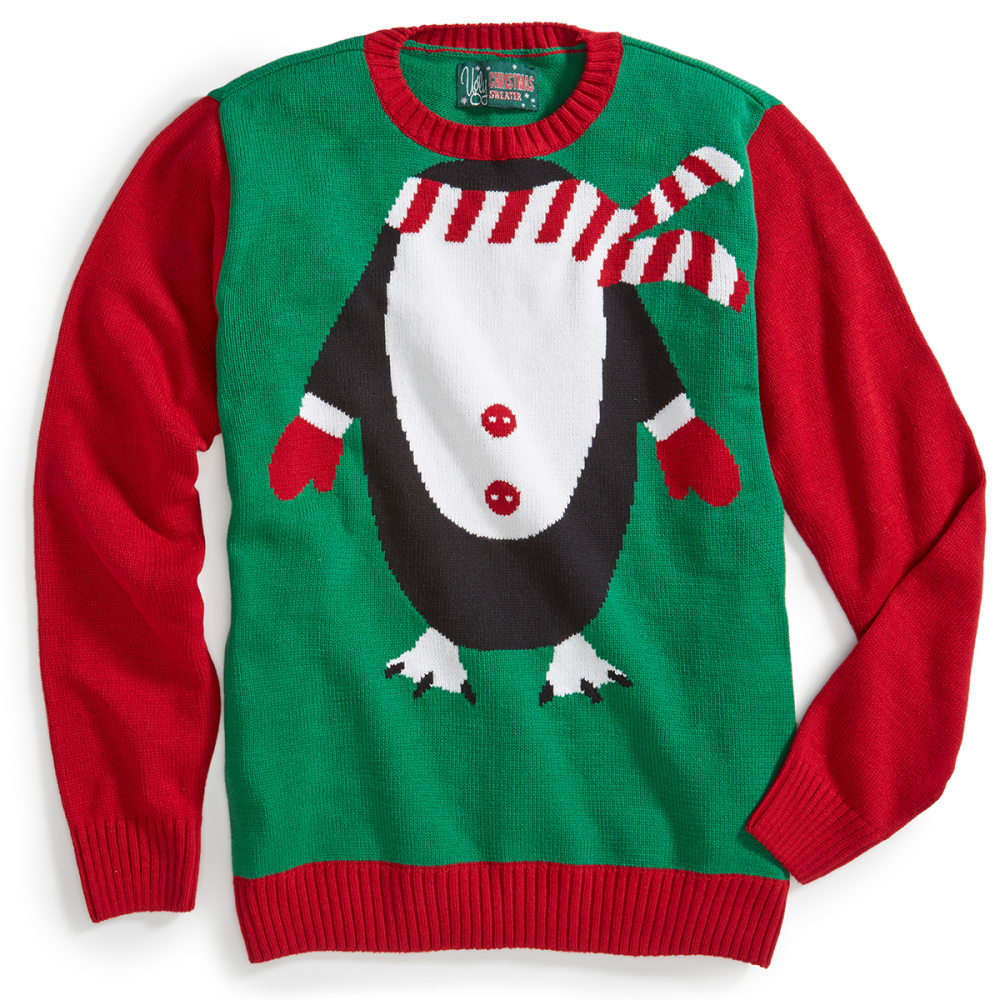 RETROFIT Guys' Penguin Ugly Holiday Sweater - EMERALD
