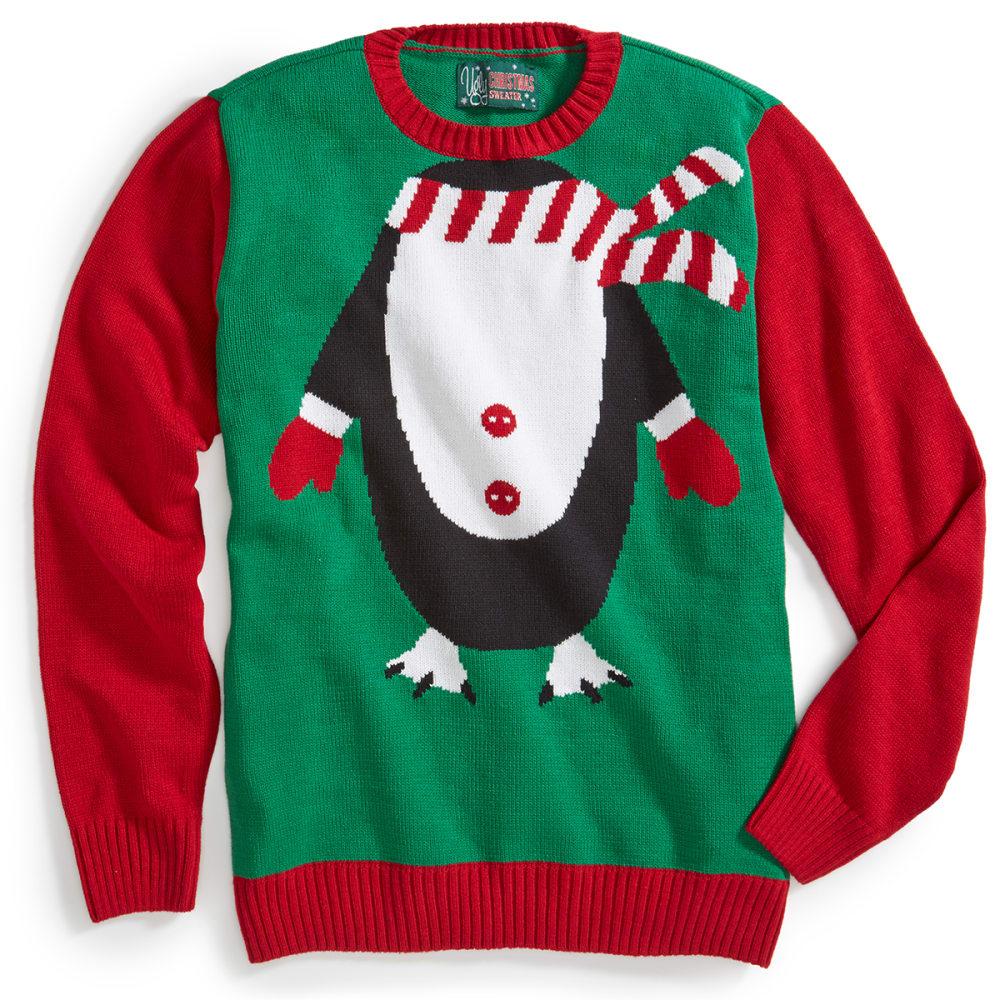 RETROFIT Guys' Penguin Ugly Holiday Sweater - EMERALD