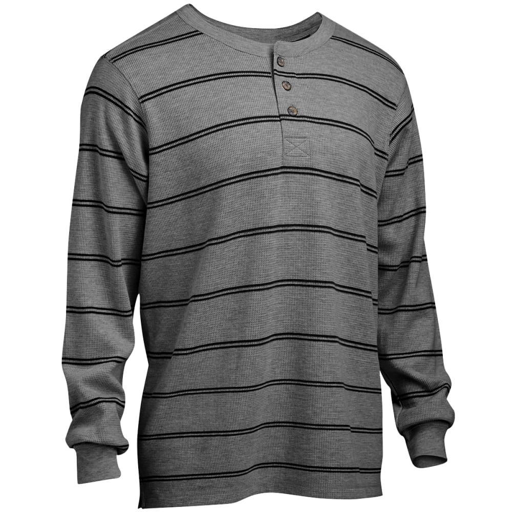 RUGGED TRAILS Men's Thermal Striped Henley Shirt - LT GRY HTR/BLACK