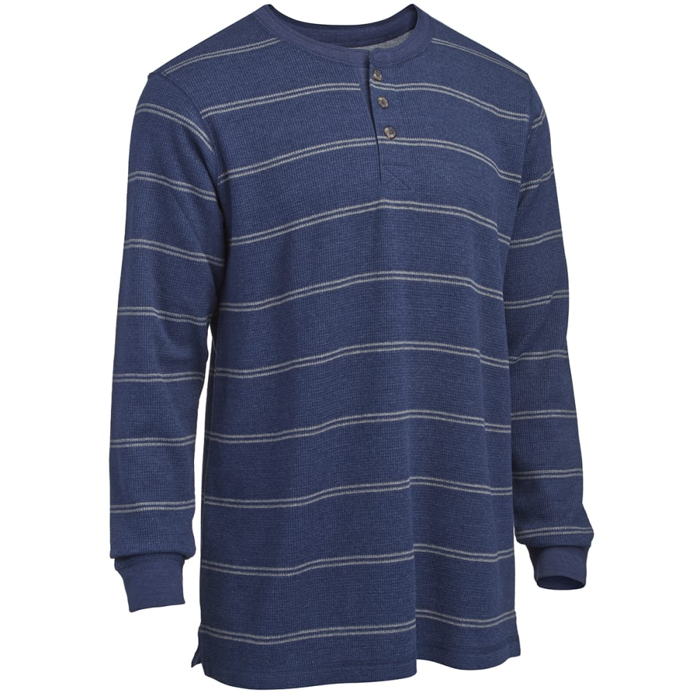 RUGGED TRAILS Men's Thermal Striped Henley Shirt - INDIGO HTR/LT GREY
