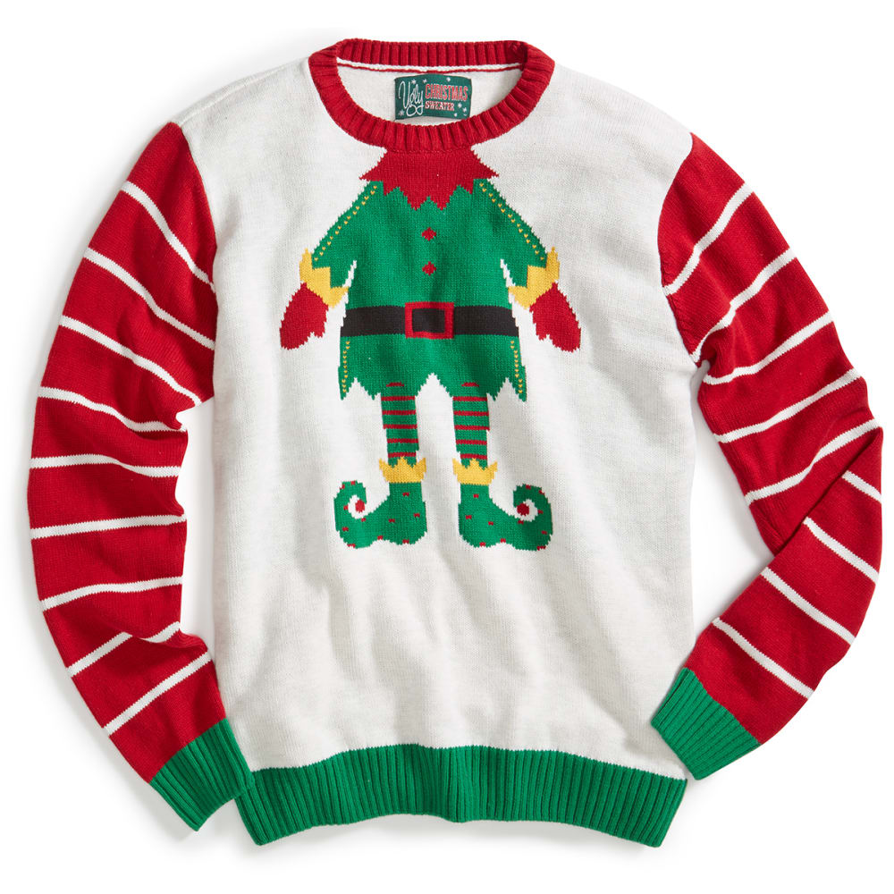 MICHAEL GERALD Guys' Elf Ugly Holiday Sweater - WHITE HEATHER