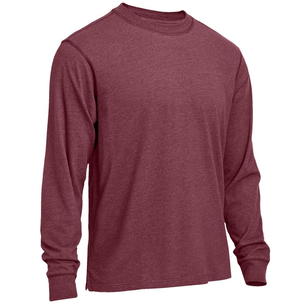 RUGGED TRAILS Men's Sueded Heather Crewneck Long-Sleeve Tee - PORT HEATHER