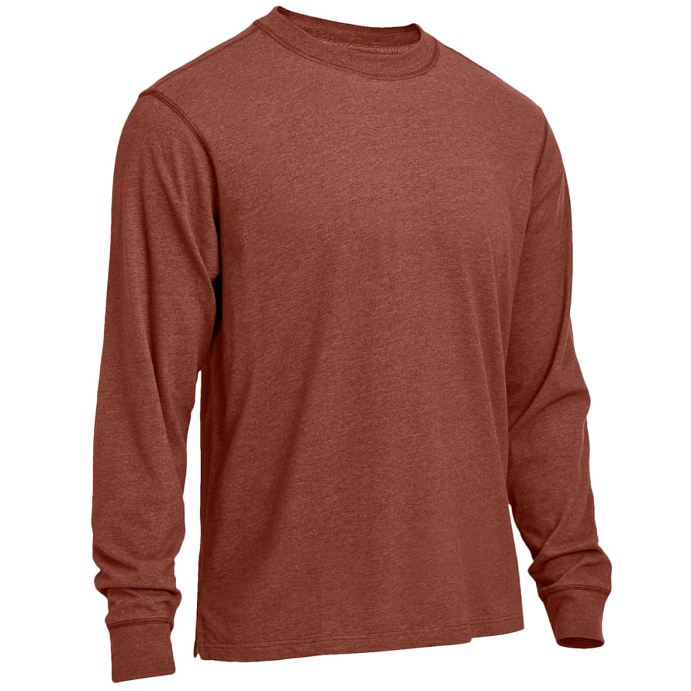 RUGGED TRAILS Men's Sueded Heather Crewneck Long-Sleeve Tee - BURNT HENNA HEATHER