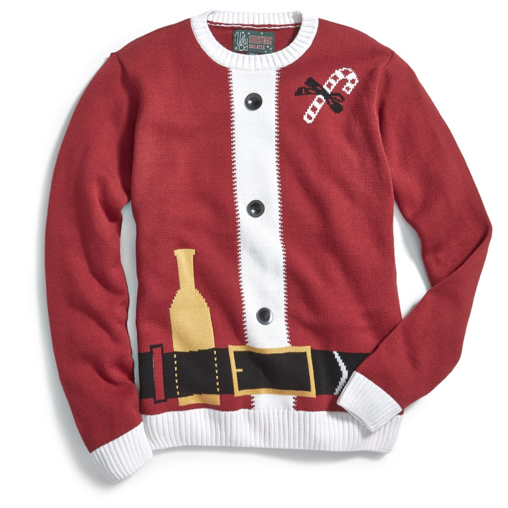 MICHAEL GERALD Guys' Santa Suit Ugly Holiday Sweater - CAYENE
