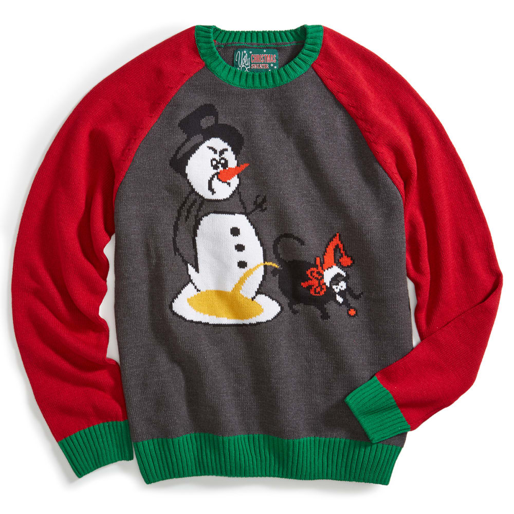 MICHAEL GERALD Guys' Dog Peeing Ugly Holiday Sweater - CHARCOAL HEATHER