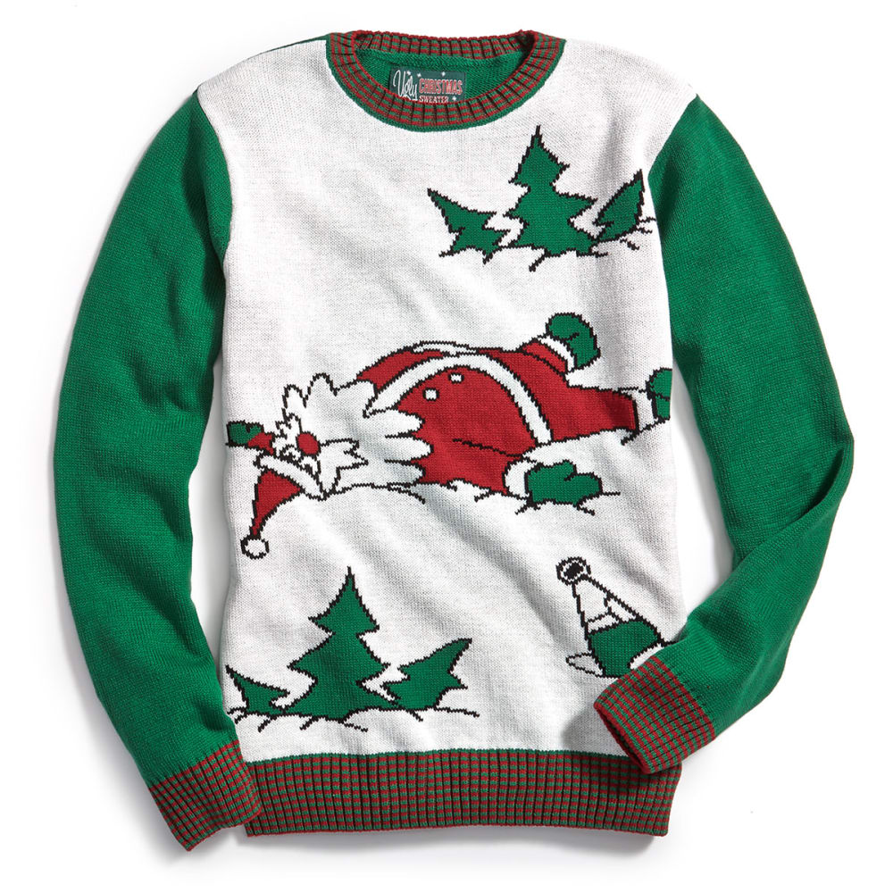 MICHAEL GERALD Guys' Drunk Santa Ugly Holiday Sweater - WHITE HEATHER