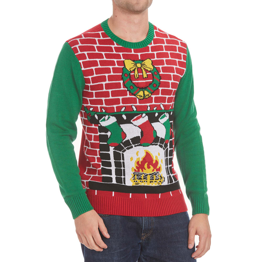 MICHAEL GERALD Guys' Fireplace Blinking LED Ugly Holiday Sweater - CAYENE