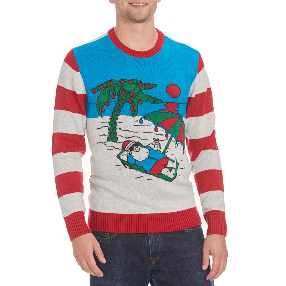 MICHAEL GERALD Guys' Beach Santa Blinking LED Ugly Holiday Sweater - WHITE HEATHER