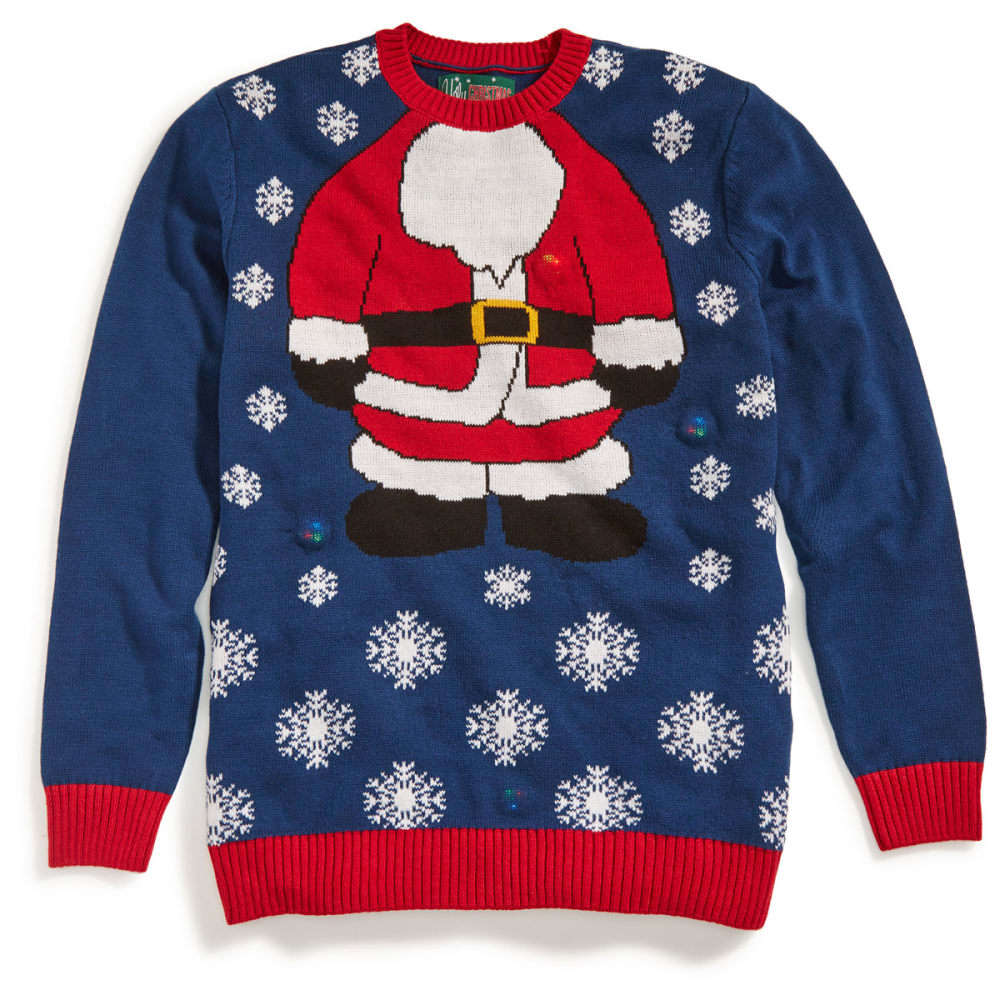 MICHAEL GERALD Guys' Santa Suit Blinking LED Ugly Holiday Sweater - BLUE ONYX