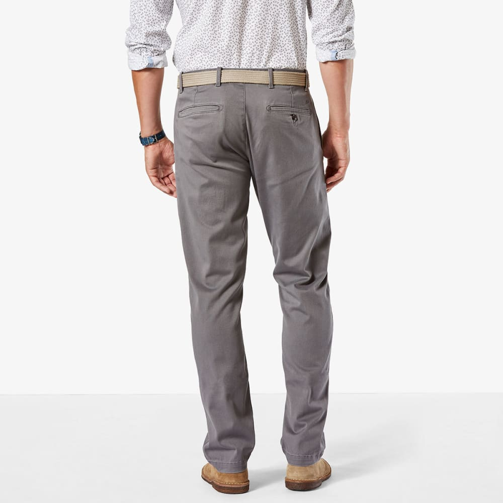 DOCKERS Men's Washed Khaki Slim Fit Tapered Pants - BURMA GREY 0001