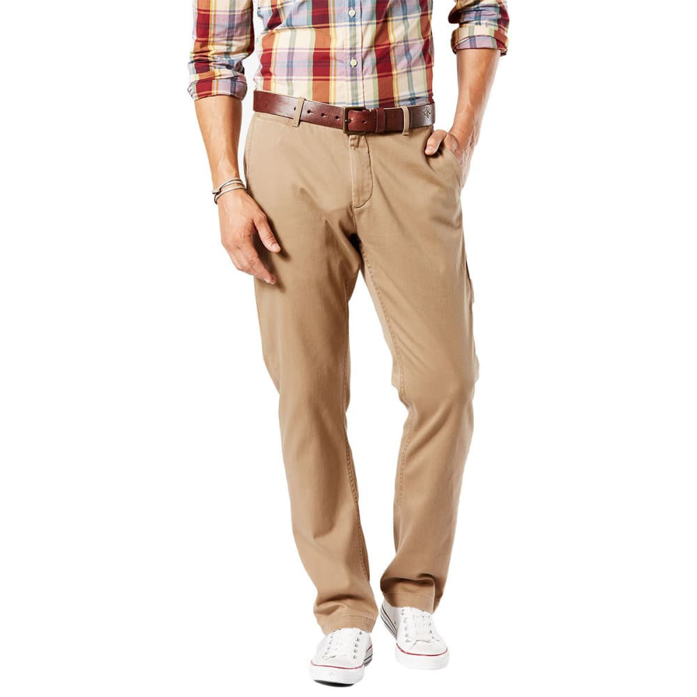 DOCKERS Men's Washed Khaki Slim Fit Tapered Pants 34/34