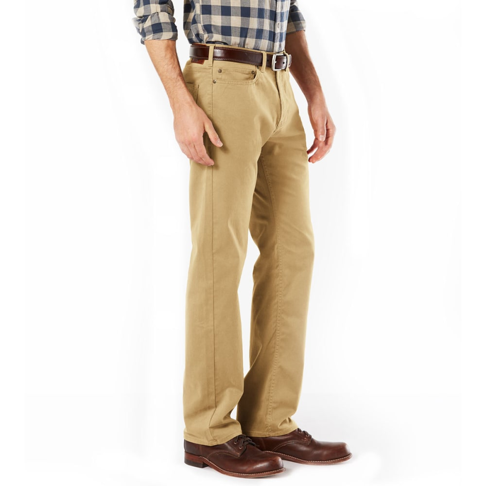 DOCKERS Men's Five-Pocket Straight-Fit Knit Pants - NEW BRIT KHAKI 0000