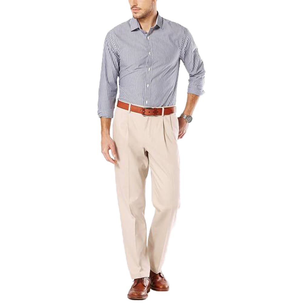 DOCKERS Men's Signature Stretch Pleated Classic Fit Khaki Pants - Discontinued Style 30/32