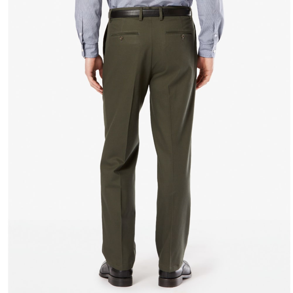 DOCKERS Men's Signature Stretch Pleated Classic Fit Khaki Pants - OLIVE GROVE 0005