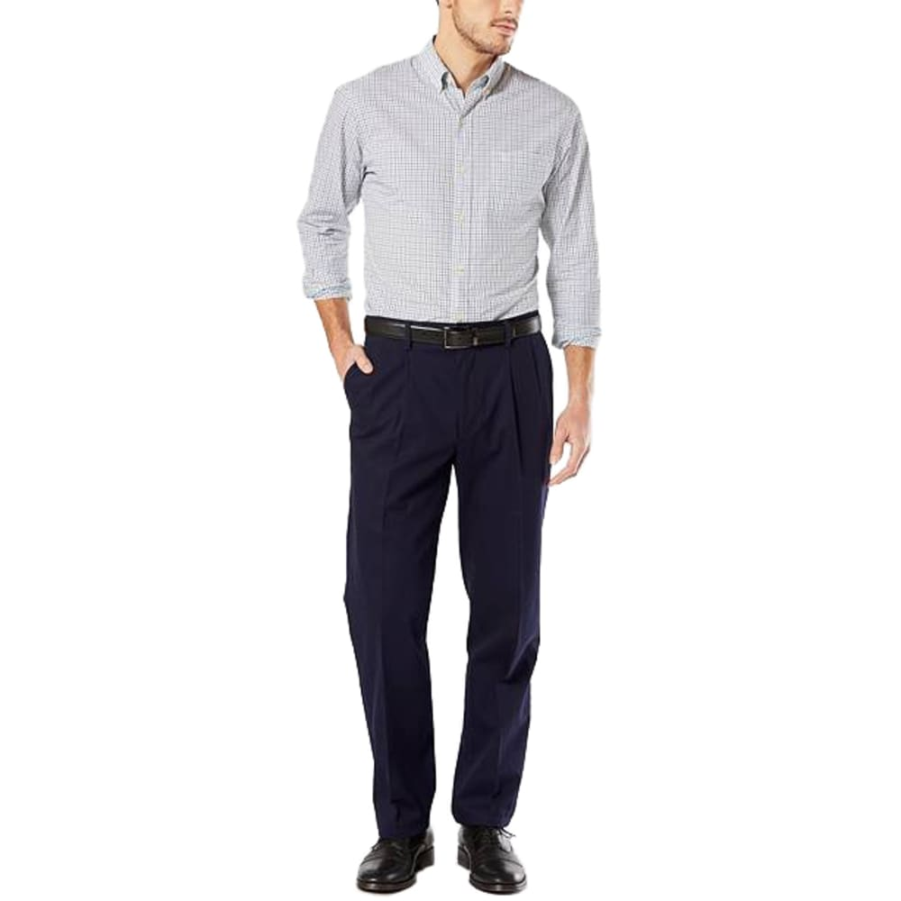 DOCKERS Men's Signature Stretch Pleated Classic Fit Khaki Pants - DOCKERS NAVY 0003