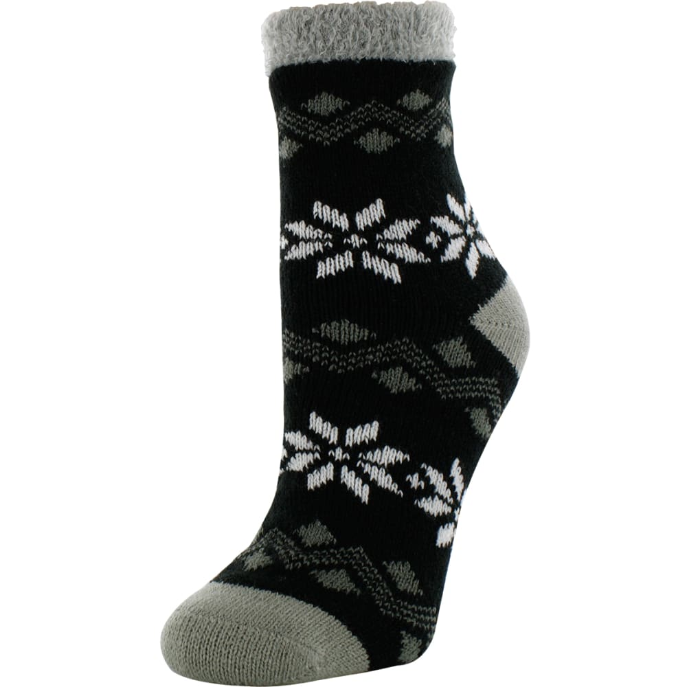 SOF SOLE Women's Fireside Large Snowflake Print Socks - BLACK