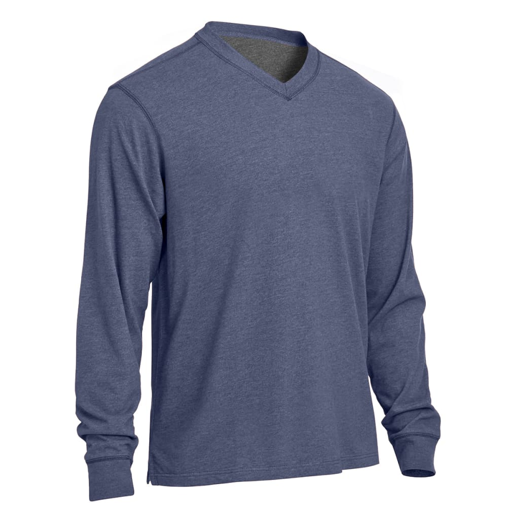 RUGGED TRAILS Men's Sueded V-Neck Tee - INDIGO HEATHER