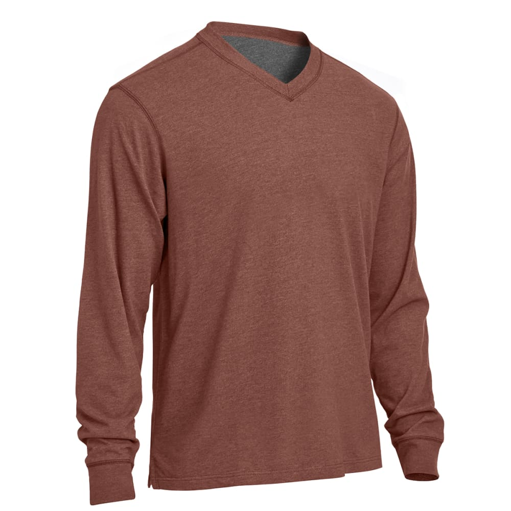 RUGGED TRAILS Men's Sueded V-Neck Tee - BURNT HENNA HEATHER