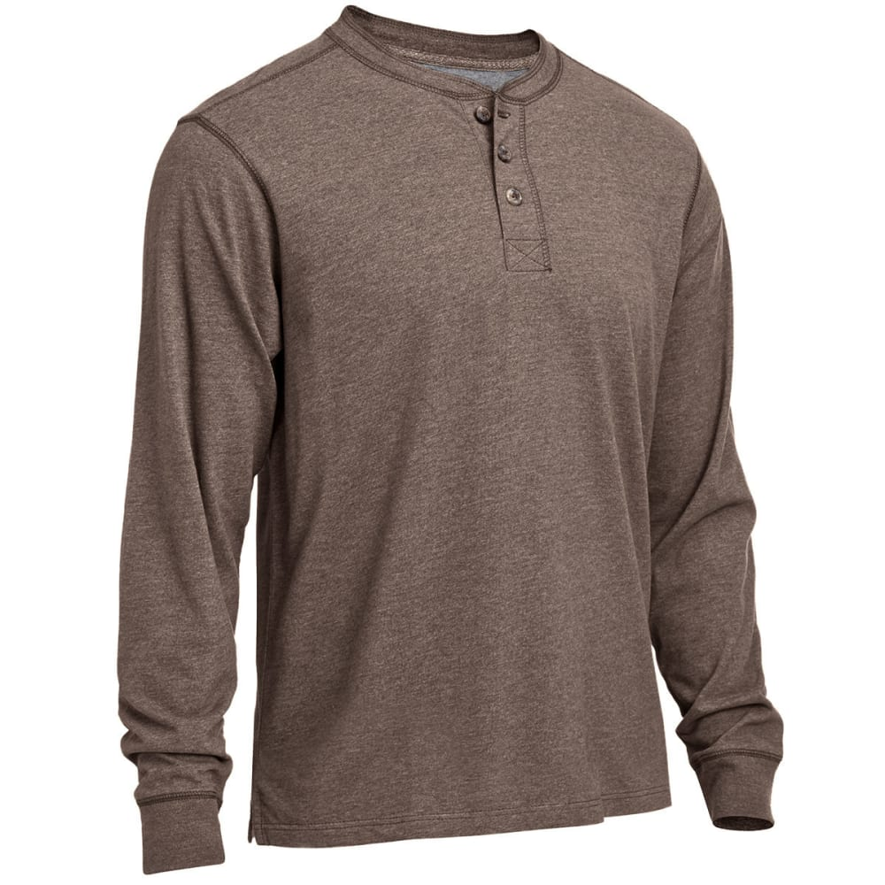 RUGGED TRAILS Men's Sueded Heather Henley Shirt - BROWN HEATHER