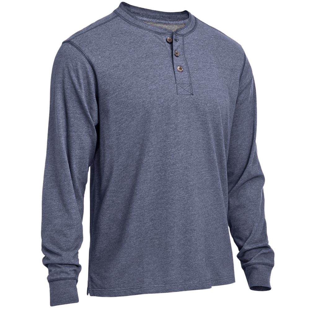 RUGGED TRAILS Men's Sueded Heather Henley Shirt - INDIGO HEATHER