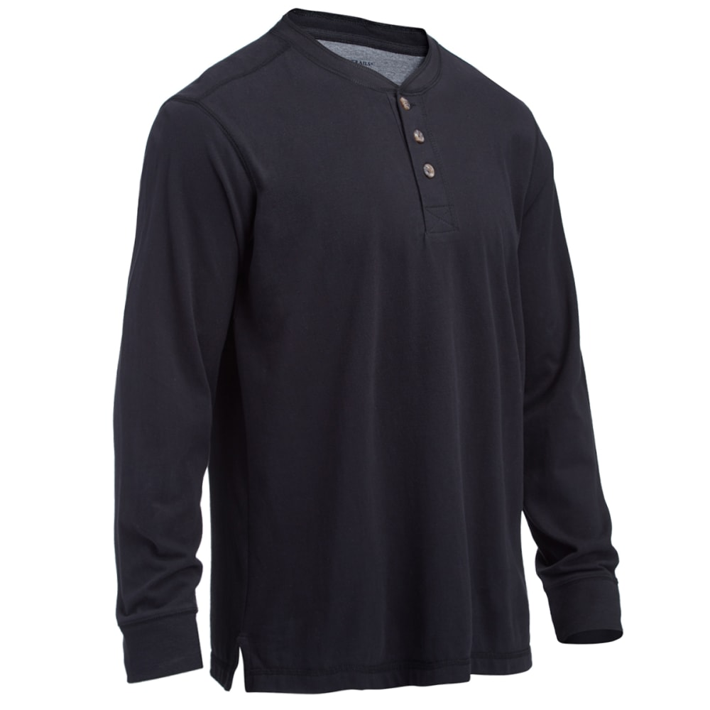 RUGGED TRAILS Men's Sueded Henley Shirt - BLACK