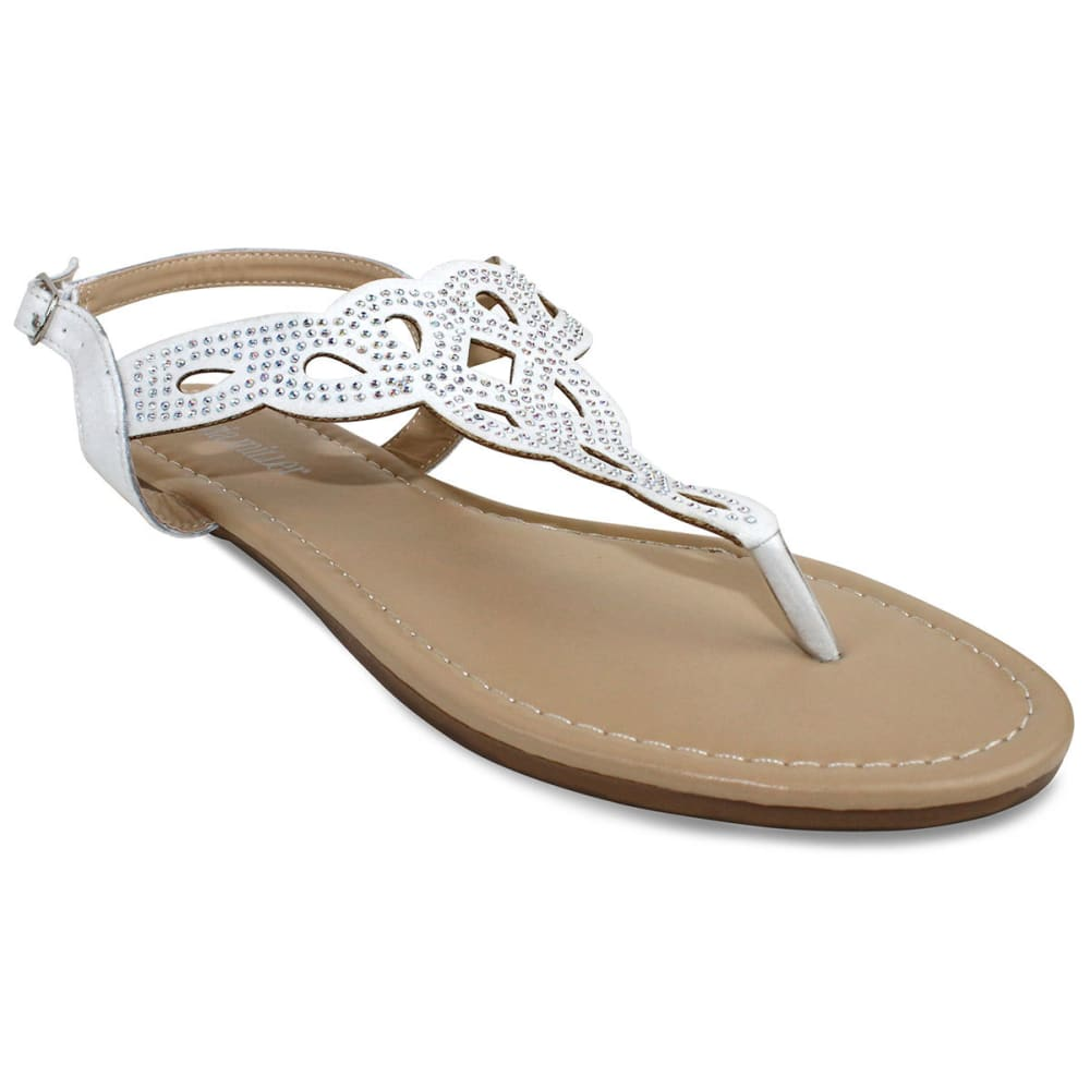 OLIVIA MILLER Juniors' Perforated Sandals - WHITE