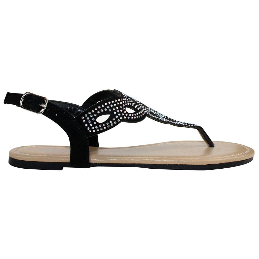 OLIVIA MILLER Juniors' Perforated Sandals - BLACK