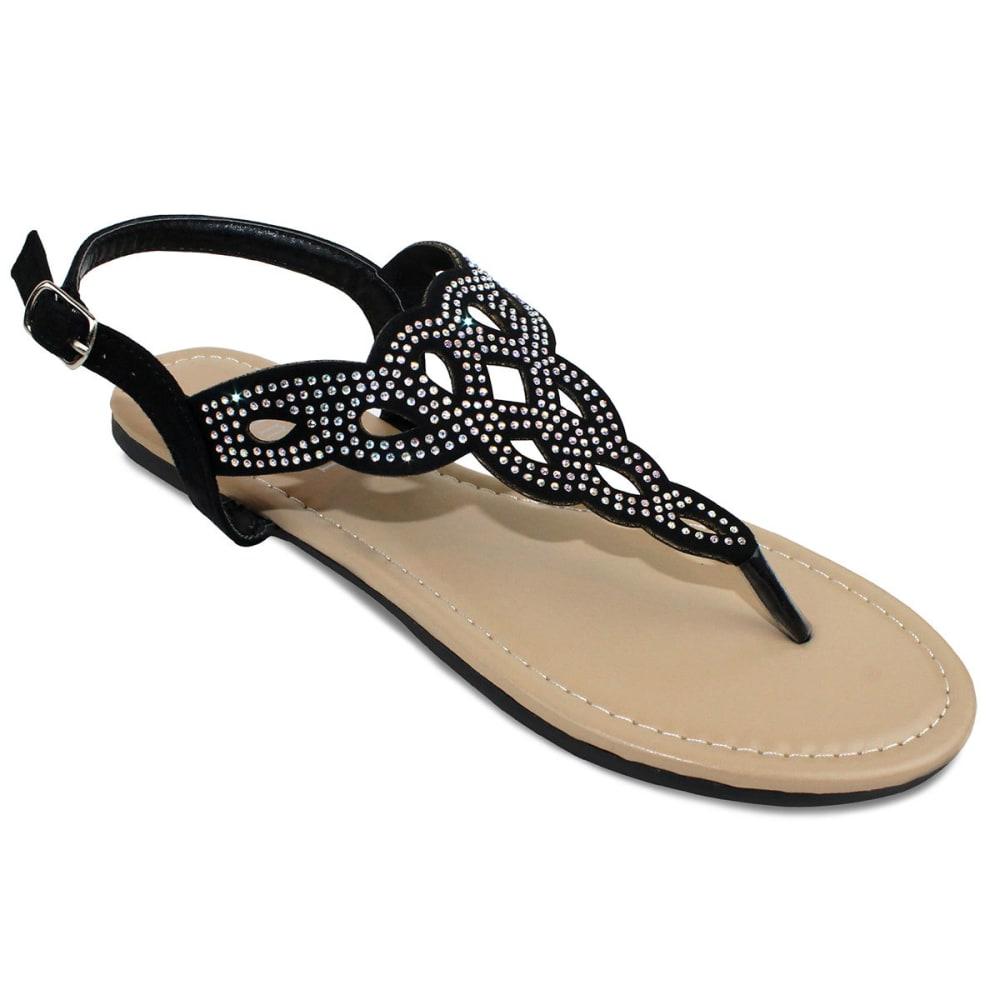 OLIVIA MILLER Juniors' Perforated Sandals - BLACK