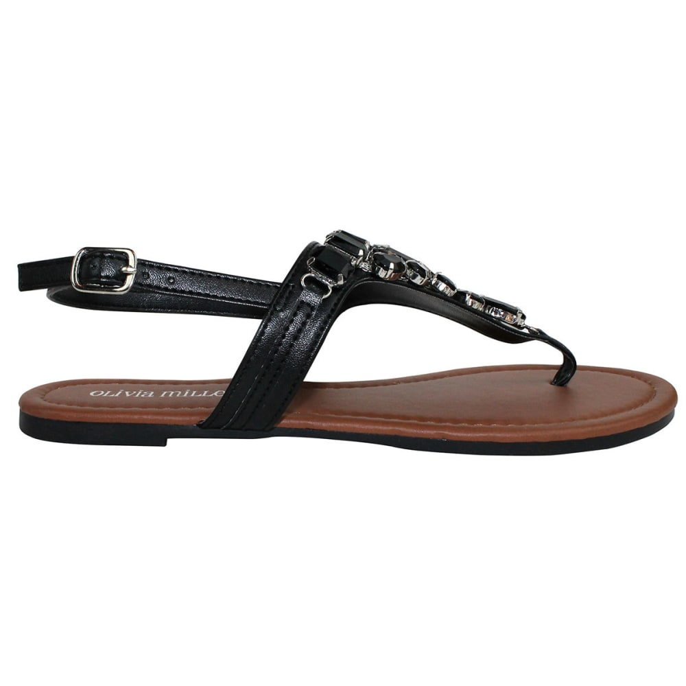 OLIVIA MILLER Juniors' Beaded Flat Sandals - BLACK