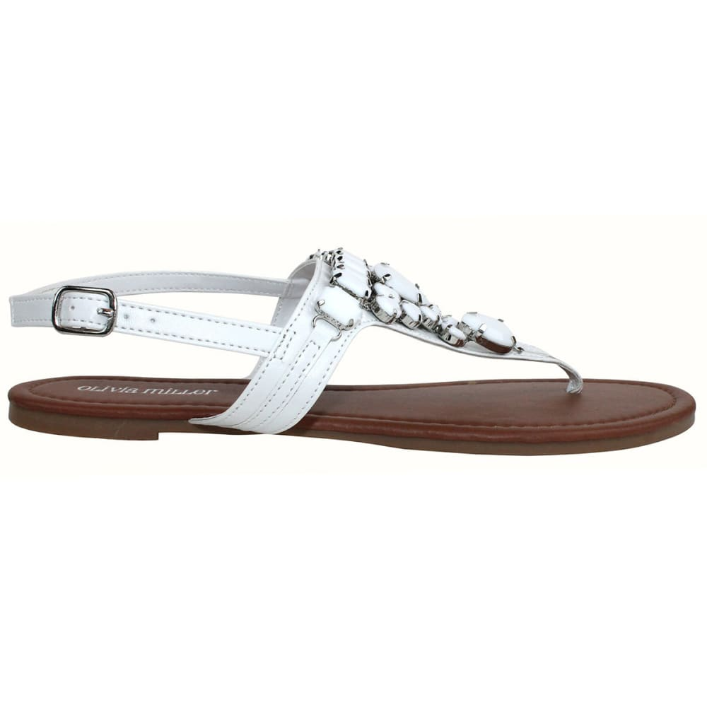 OLIVIA MILLER Juniors' Beaded Flat Sandals - WHITE