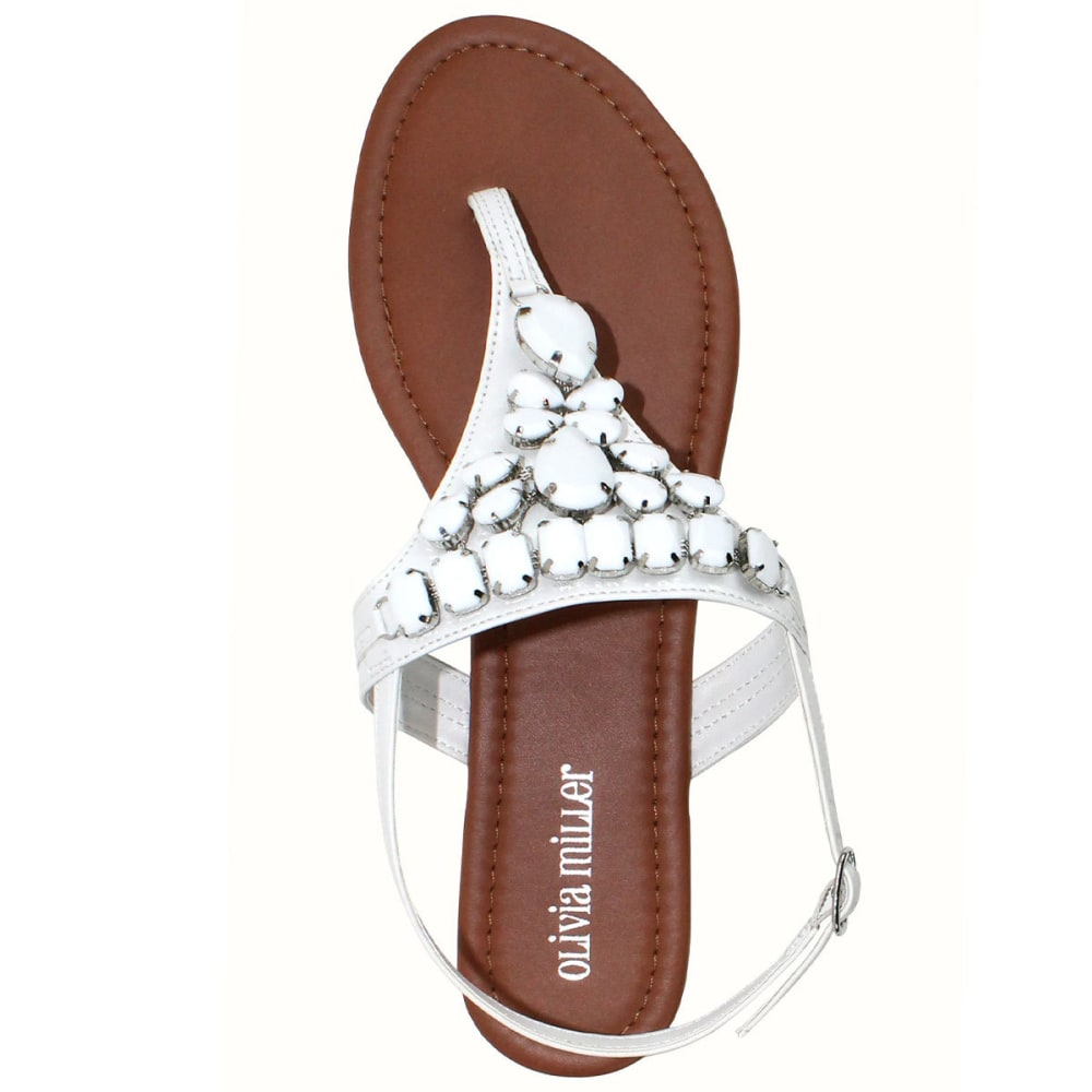OLIVIA MILLER Juniors' Beaded Flat Sandals - WHITE