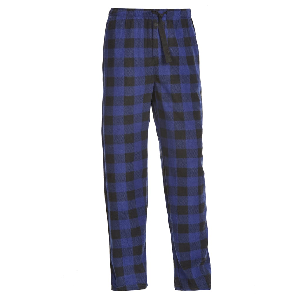 PERRY ELLIS Men's Buffalo Plaid Microfleece Sleep Pants - BLK/ROYAL 968