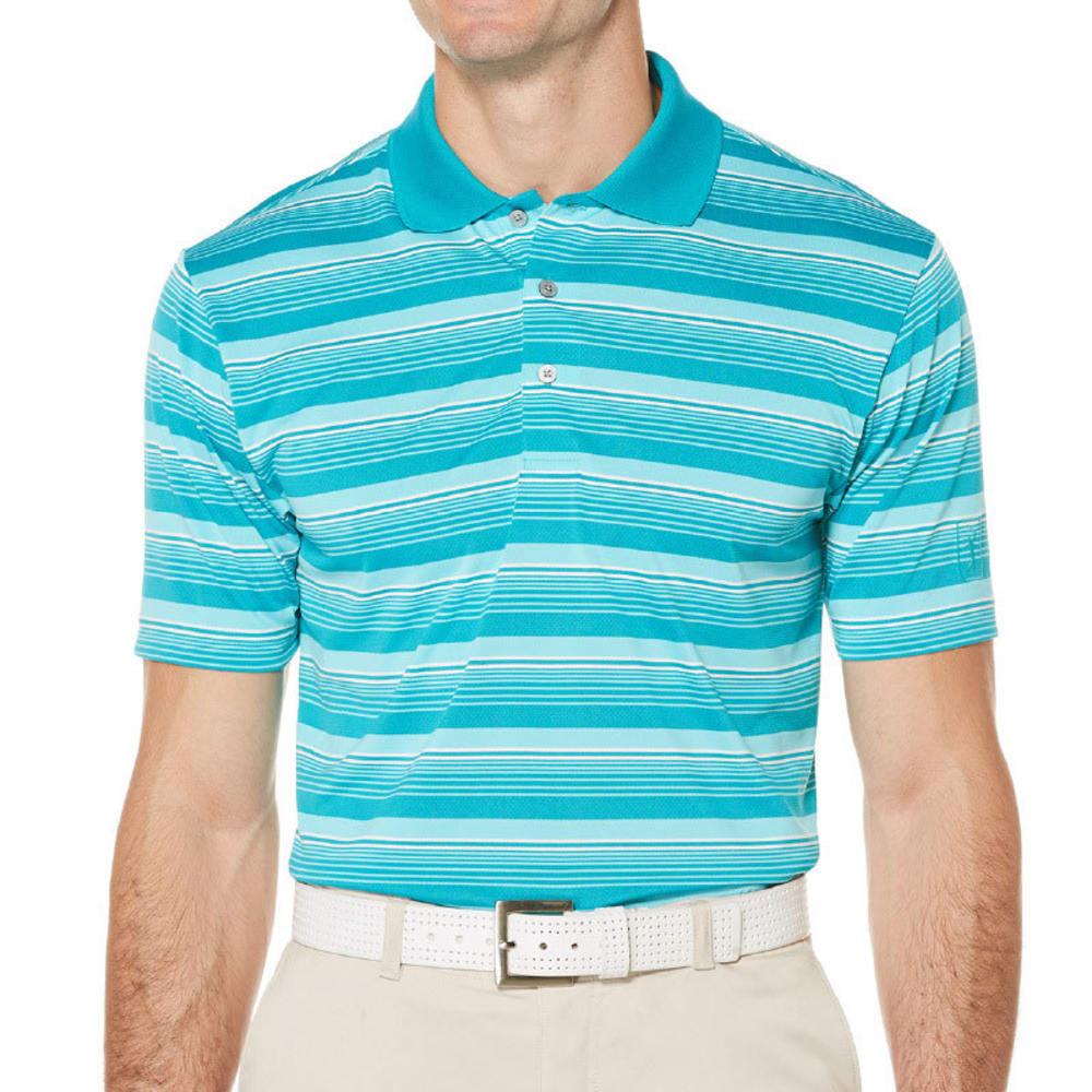PGA TOUR APPAREL Men's Airflux Stripe Polo - TILE BLUE-442