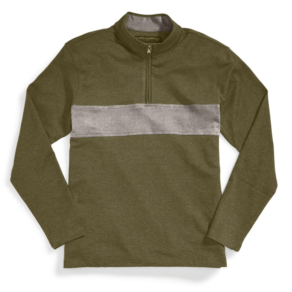 NORTH HUDSON Men's 1/4-Zip Pieced Knit Pullover - FOREST HTR/GRY HTR