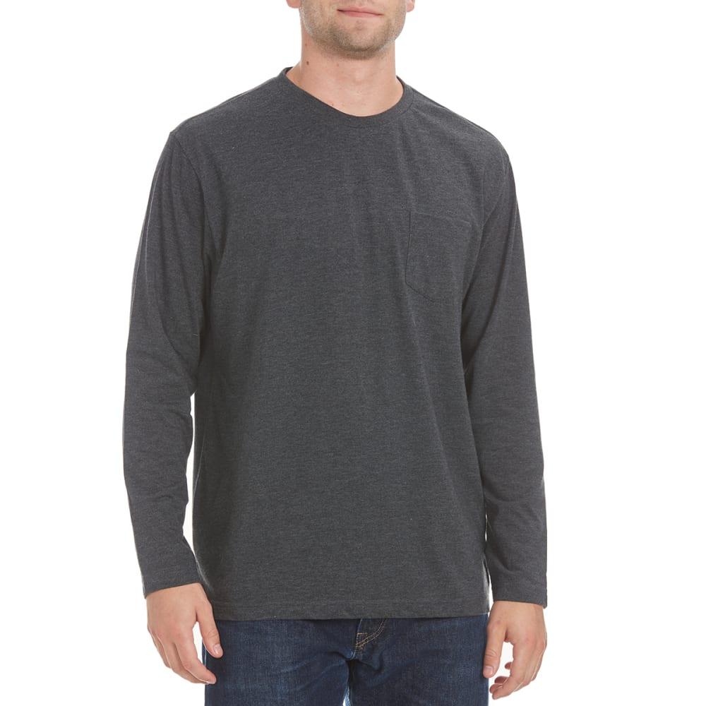 NORTH HUDSON Men's Solid Long-Sleeve Pocket Tee - CHAR HTR