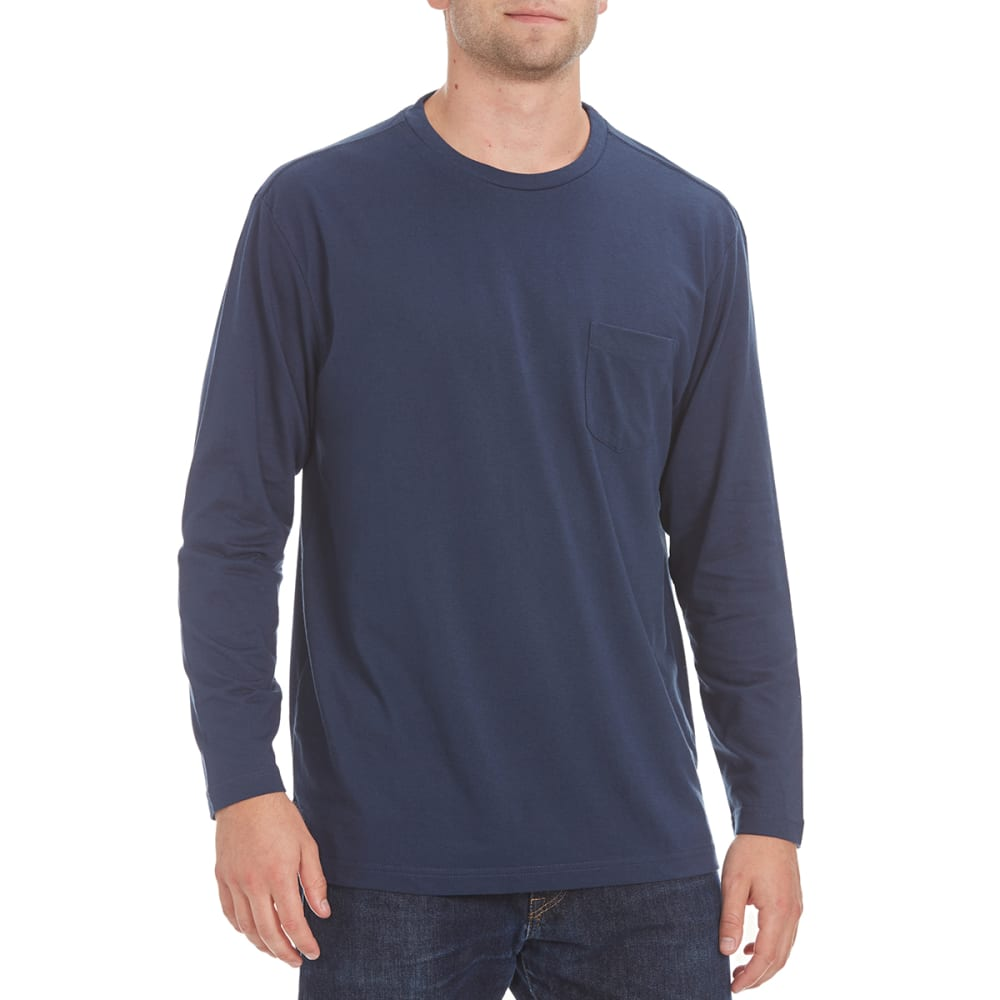 NORTH HUDSON Men's Solid Long-Sleeve Pocket Tee - NAVY HTR